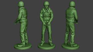 3D american soldier ww2 navy model