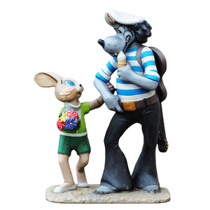 3D sculpture characters wolf hare model