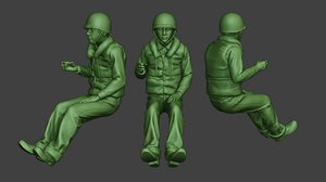 3D american soldier ww2 navy