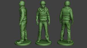 3D model american soldier ww2 navy