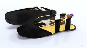 3D black ladies shoes flat model