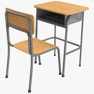 3D real school desk