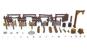 3D model wooden fence flowers