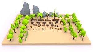 3D trees flowers rocks model