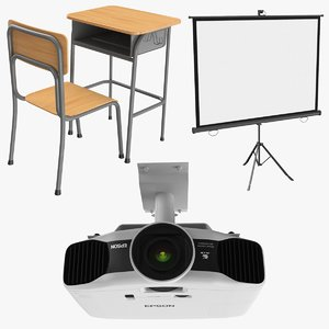 real classroom projector desk 3D