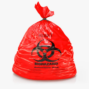 3D red biohazard trash liner model