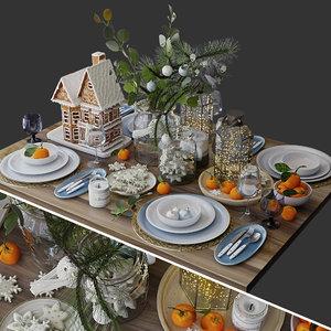 festive table setting 3D