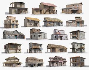 ready slum hut shack 3D model