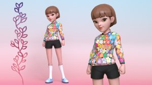 young girl character rig model