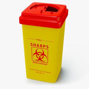 medical sharps waste bin 3D model