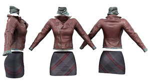 brown leather jacket scarf 3D model