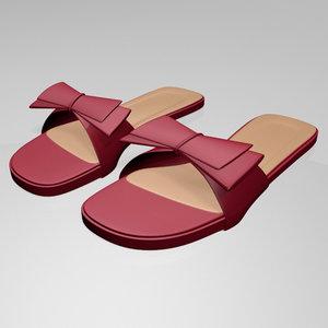 stylish double-bow slide sandals 3D model