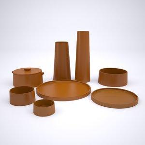 clay tableware 3D
