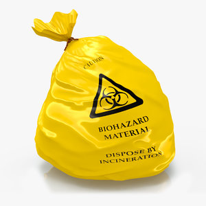 yellow biohazard trash bag 3D model