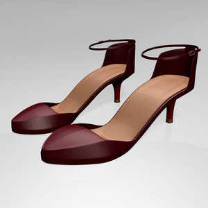3D stylish pointed-toe ankle-strap high-heel