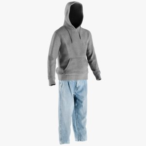 realistic jeans hoodie 10 3D