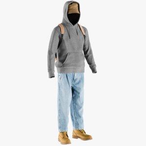 3D model realistic men s boots