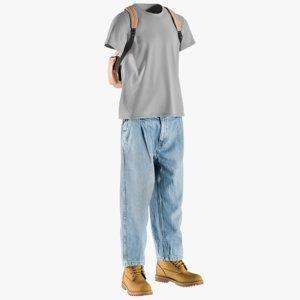 3D realistic men s boots