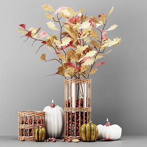 autumn decorative set 3D model