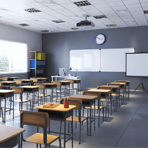 3D model real classroom interior rendering