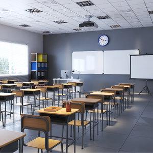 3D model real classroom interior rendering