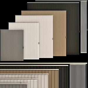 3D vertical roller blinds set model