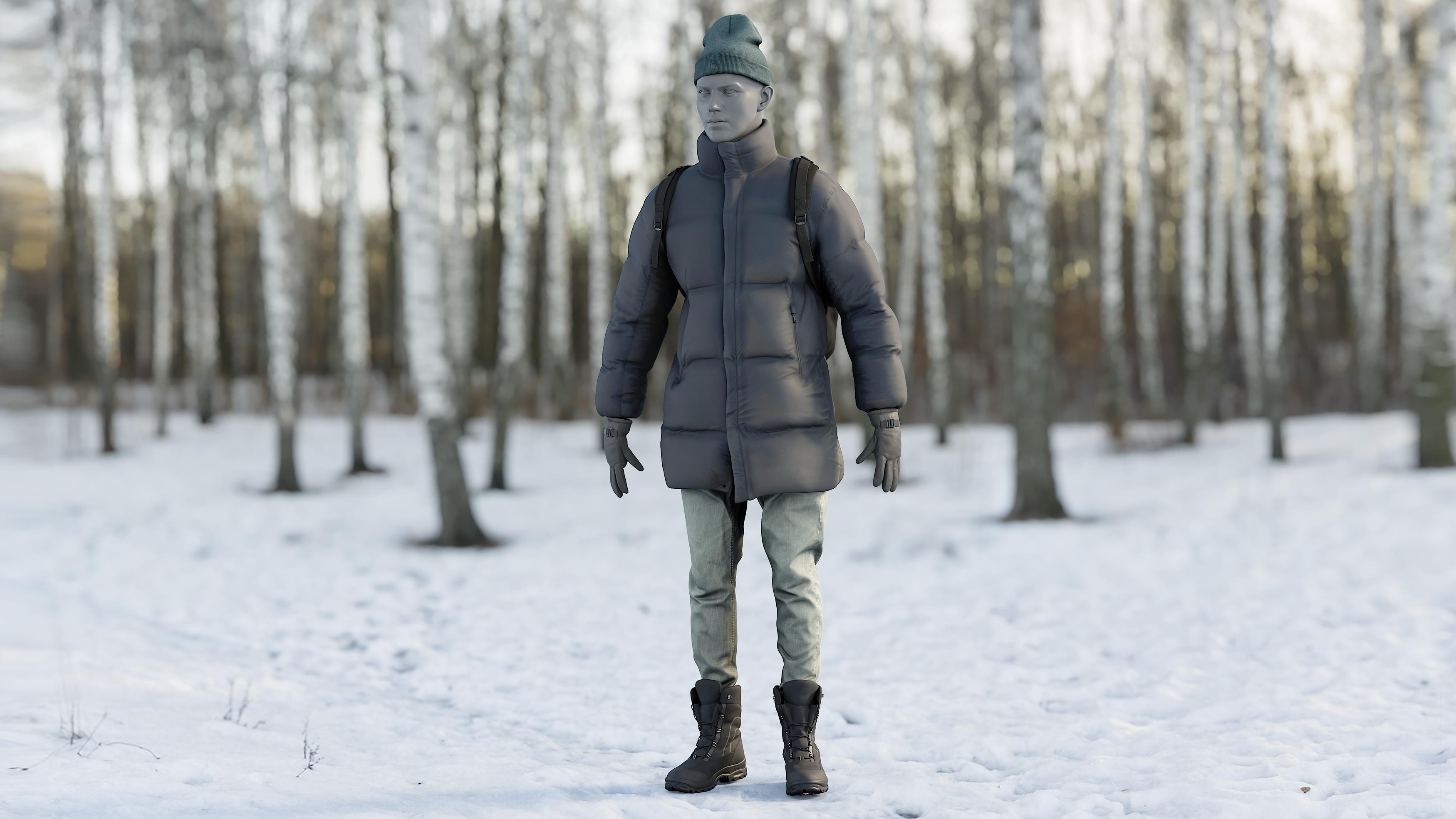 3D model realistic clothing 21 coat