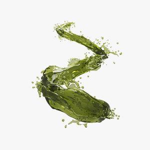 3D splash oil olive green
