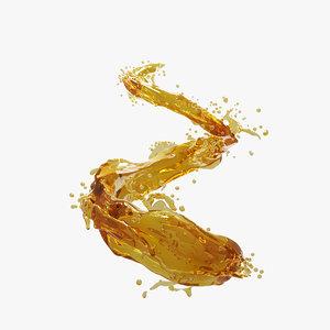 3D splash oil olive