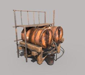 barrel oil platform 3D