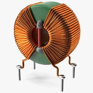 toroidal choke coil filter 3D