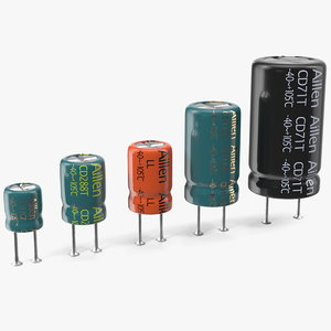 3D model aillen electrolytic capacitor soldered