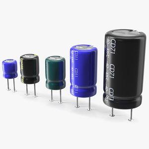 3D electrolytic capacitor soldered set model