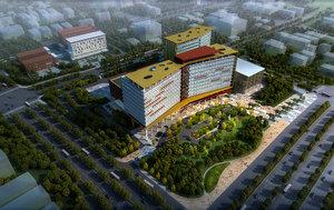 3D skyscraper hospital building model