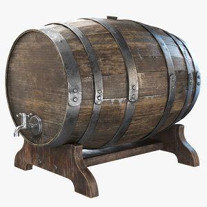 whiskey barrel pbr 8k 3D model