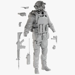 mesh uniform desert equipment 3D model