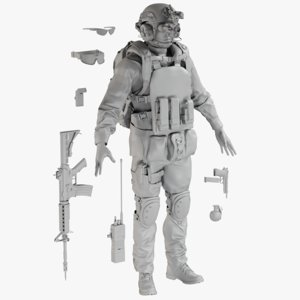 3D mesh soldier uniform desert