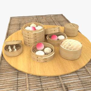3D dim sum bamboo model