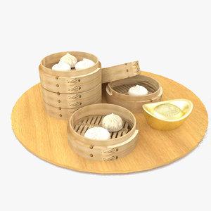 3D gold ingot bamboo model