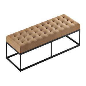faux leather bench button 3D model