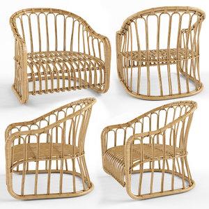 3D lounge chair rattan