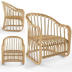3D dining chair rattan