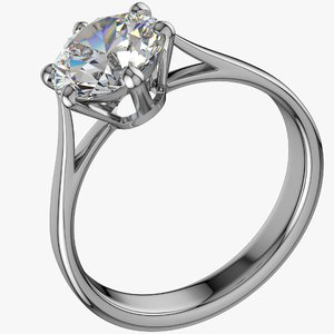 realistic diamond ring 3D