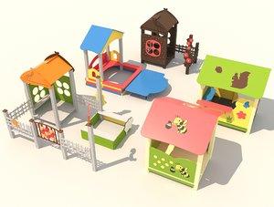 3D model playground kids houses