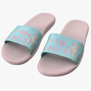 3D model pink slippers 2