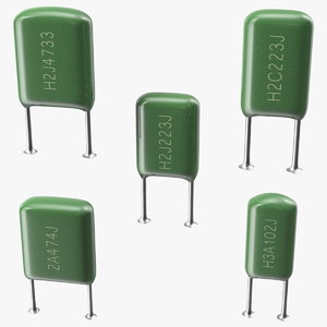 mylar polyester film capacitor 3D