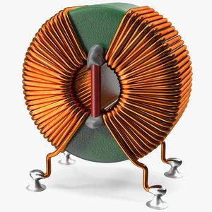 toroidal choke coil filter 3D model