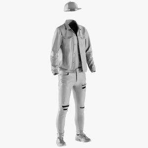3D mesh men s jeans model
