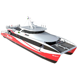 3D red jet 7 ferry model