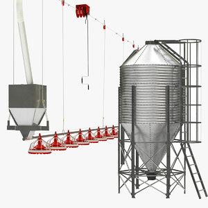 3D model chicken feed silo